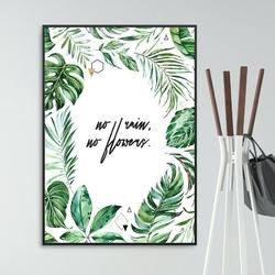 Plakat w ramie - no rain, no flowers , wymiary - 70cm x 100cm, ramka - czarna