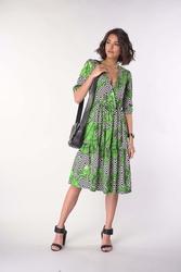 Kopertowa sukienka z falbanką liście