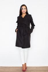Czarny elegancki płaszcz z dużym kołnierzem i paskiem