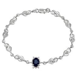 Kate srebrna bransoletka z dużym szafirem 1,15 ct