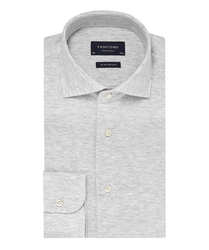 Elegancka siwa koszula męska z dzianiny slim fit 37