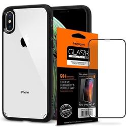 Etui spigen ultra hybrid apple iphone x  xs matte black + szkło spigen - czarny
