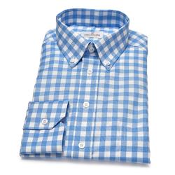 Koszula VAN THORN w biało-niebieską kratę z kołnierzykiem na guziki 46