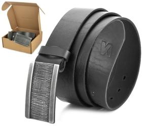 Pasek skórzany stylion w pudełku - czarny st40-kl-6