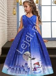 Niebieska długa sukienka dla dziewczynki na święta 057