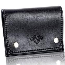 Skórzany cienki portfel wizytownik solier sw18 czarny - czarny