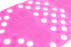 Mata prysznicowa owalna 66x36 cm różowa