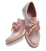 Pantofelek24.pl | wsuwane półbuty damskie z kokardą różowe