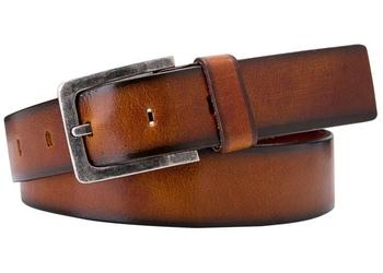 Koniakowy pasek skórzany męski 4 cm - casual 115