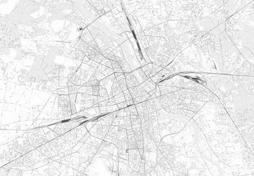 Warszawa - mapa w odcieniach szarości - fototapeta