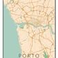 Porto mapa kolorowa - plakat wymiar do wyboru: 21x29,7 cm