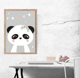 Panda szare tło - plakat wymiar do wyboru: 50x70 cm