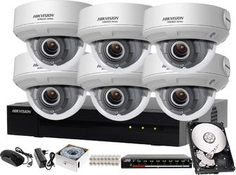 Profesjonalny monitoring szkoły hikvision hiwatch rejestrator ip hwn-4108mh + 6x kamera fullhd hwi-d620h-z + akcesoria
