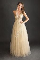 Złota sukienka wieczorowa tiulowa z górą zdobioną koronką i perełkami 2217