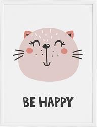 Plakat be happy 40 x 50 cm