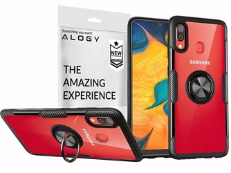 Etui Alogy Ring Holder Clear Armor do Samsung Galaxy A40 czarne + szkło