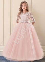 Długa suknia wieczorowa dla dziewczynki w jasno różowym kolorze 022