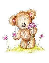 Plakat rysunek misia z różowe kwiaty
