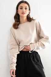 Bawełniana bluza z logowanym lampasem - beżowa