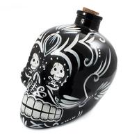 karafka czaszka z korkiem, ręcznie malowana, czarna