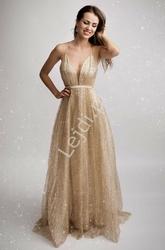 Złota brokatowa suknia wieczorowa z trenem 2179