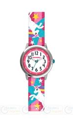Zegarek dziewczęcy błyszczący różowy z jednorożcami clockodile unicorns cwg5050