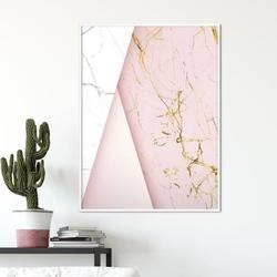 Plakat w ramie - pinky marble , wymiary - 20cm x 30cm, ramka - biała