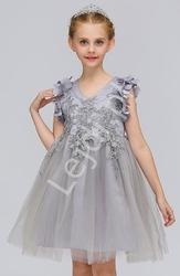 Szara tiulowa sukienka dla dziewczynki zdobiona gipiurową koronką