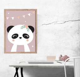Panda ciemnoróżowe tło - plakat wymiar do wyboru: 42x59,4 cm
