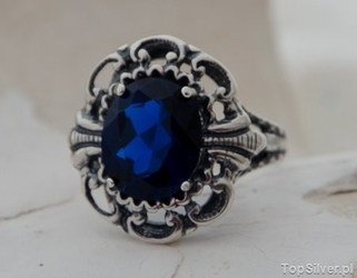 Karolina - duży srebrny pierścień z szafirem