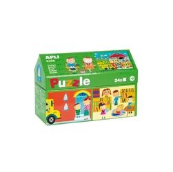 Puzzle w kartonowym domku apli kids -  w szkole
