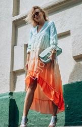 Fenomenalna cieniowana letnia sukienka z dłuższym tyłem - w sukience osa osobista stylistka 3800