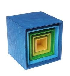 Drewniane pudełka 0+, odcienie niebieskiego, grimms - niebieskie