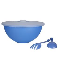 Miska plastikowa z pokrywą + łyżka i widelec do sałaty sagad 3,6 l niebieska