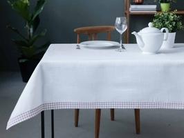Obrus na stół altom design biały  beżowa kratka 130 x 160 cm