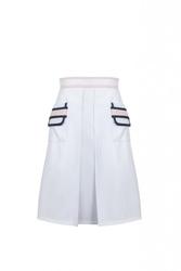 Biała spódnica z kontrafałdą classic i