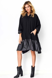 Czarna oversizowa sukienka z eko-skórą