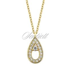 Srebrny, pozłacany naszyjnik pr.925 - łezka z cyrkoniami - żółte złoto