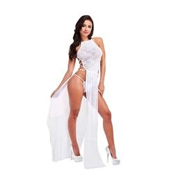 Długa narzutka - lapdance lace gown   sm biały