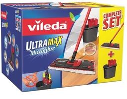 Vileda, ultramax box microfibre, mop płaski z microfibry, komplet nakładka, drążk i wiadro