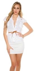 Biała damska koszula bawełniana zdobiona koronką i jetami | elegancka bluzka koszulowa