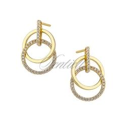 Srebrne kolczyki pr. 925 okręgi z cyrkoniami - pozłacane - żółte złoto