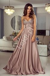 Suknia wieczorowa na cieńkich ramiączkach  kawa z mlekiem - bella