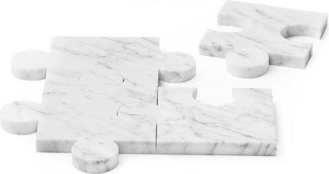 Podkładki marmurowe Puzzle 4 el. białe