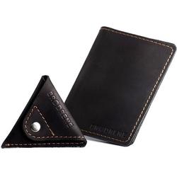 Skórzany zestaw portfel i bilonówka brodrene sw05 + cw01 czarny - czarny