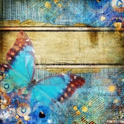 Obraz na płótnie canvas trzyczęściowy tryptyk abstrakcja w stylu vintage z motylem