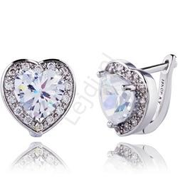 Kolczyki serca z kryształkami swarovskiego, pozłacane 18k białym złotem