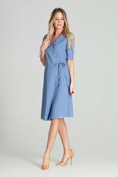 Kopertowa sukienka z krótkim rękawem - niebieska
