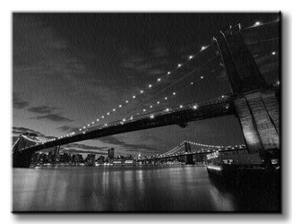 Brooklyn bridge nocą - obraz na płótnie