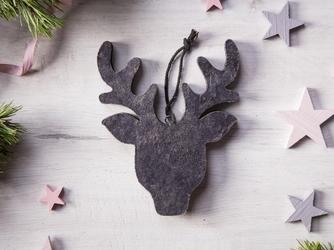 Dekoracja świąteczna  ozdoba choinkowa na boże narodzenie altom design drewniana zawieszka renifer szary 19 x 14,5 cm